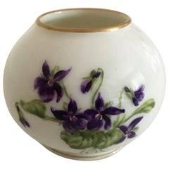 Royal Copenhagen Vase with Purple Flower Motif