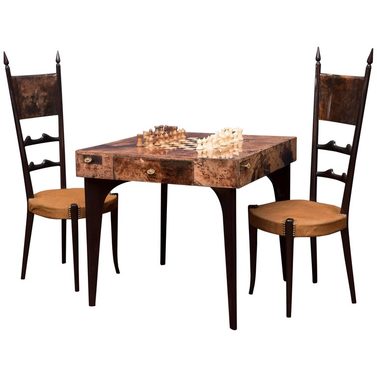Aldo Tura Games Table and Chairs 1