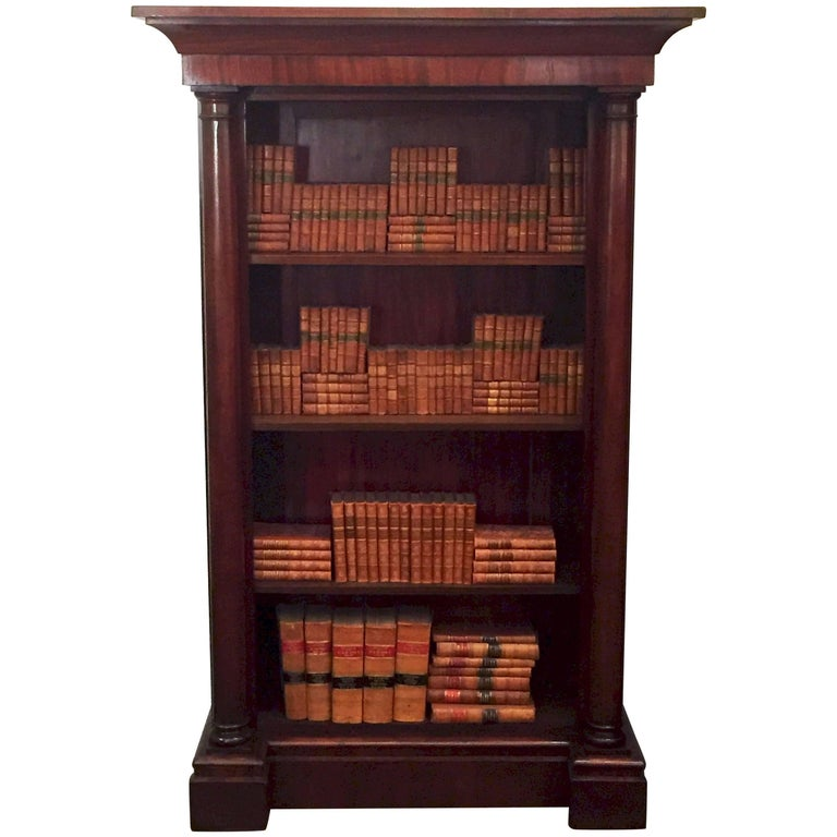 Large English Open Bookcase of Mahogany with Turned Columns