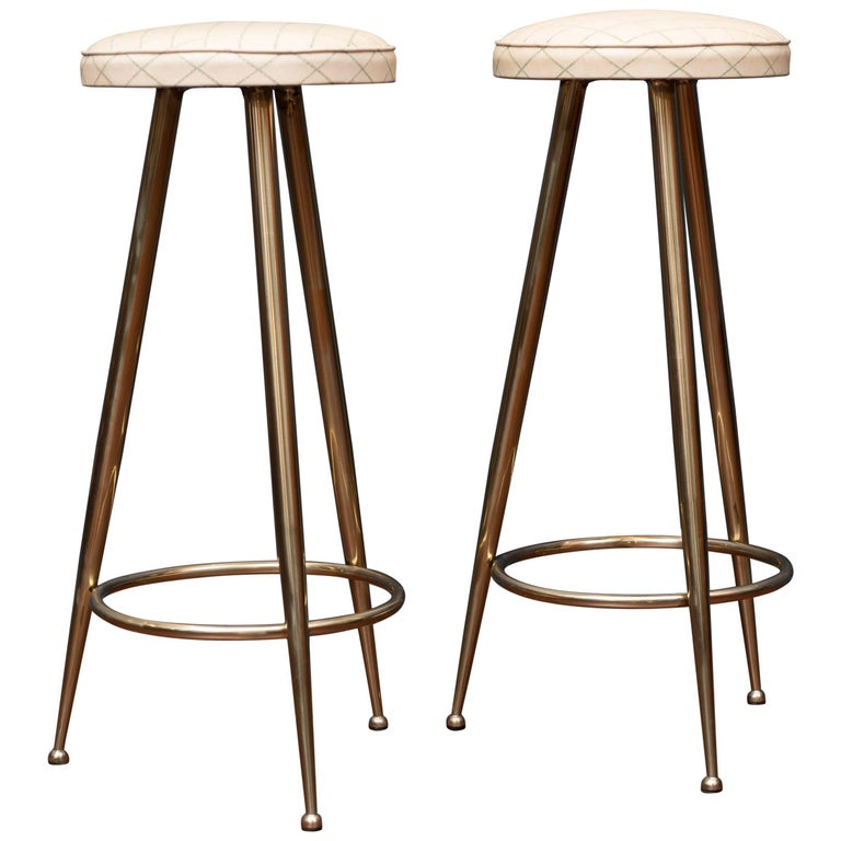 Pair of Brass Barstools, Italy For Sale