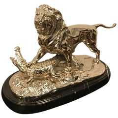 Nickel Bronze Sculpture of Lion Crushing Alligator by Paul Edouard Delabrierre