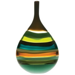 Large Green Flat Teardrop Blown Glass Vase by California Designer Caleb Siemon