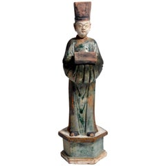 Ming Dynasty Green Glazed Figure of an Attendant