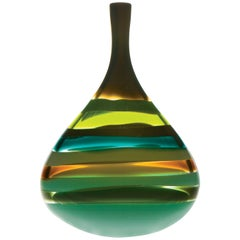 Modern American Green Squat Vase, Blown Glass, Handmade, Sculpture, In Stock