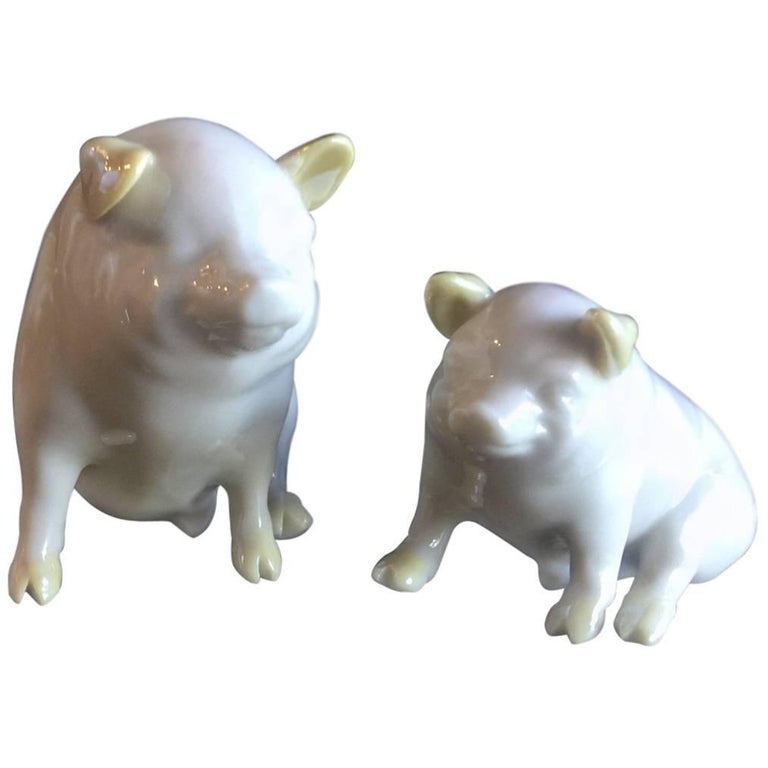 Pair of Porcelain Miniature Pigs by Belleek For Sale