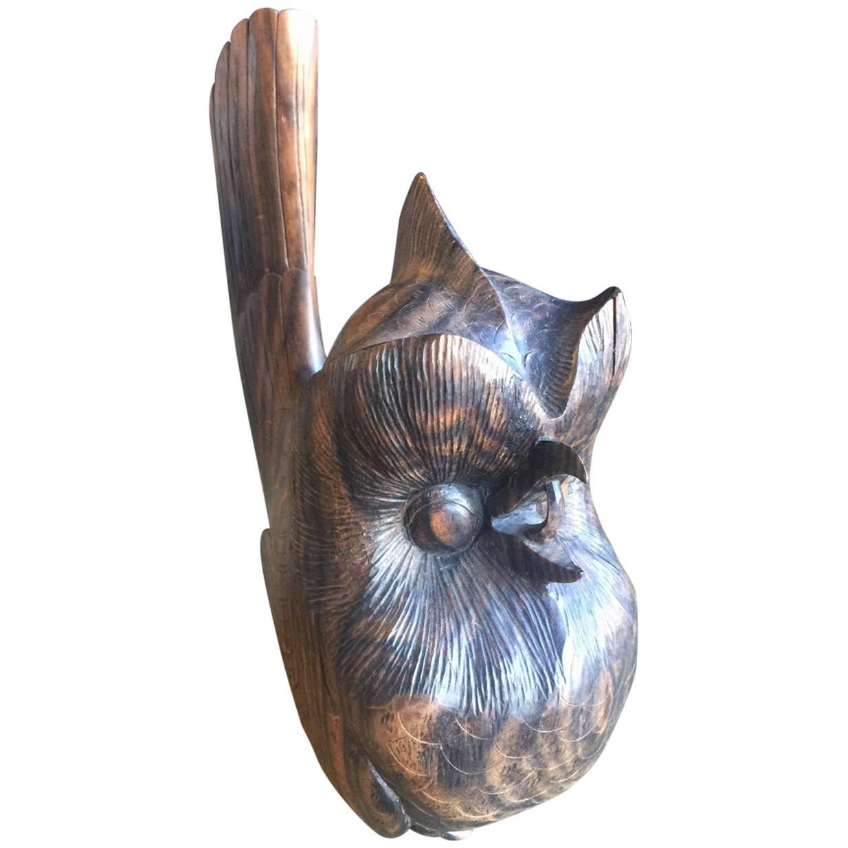 Mid-Century Hand Carved Zebra Wood  Owl Sculpture