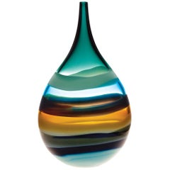 Contemporary American Aqua Teardrop Vase, Blown Glass, Sculpture, In Stock