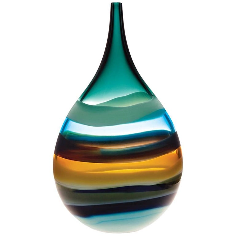 Tall Glass Vase Aqua Teardrop Vase, Blown Glass, Sculpture, In Stock For Sale