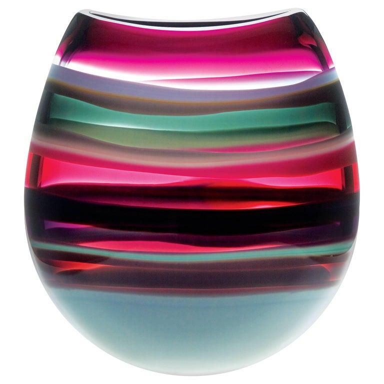 Modern Glass Vase Amethyst U Shape, Blown Glass, Handmade, Sculpture, In Stock
