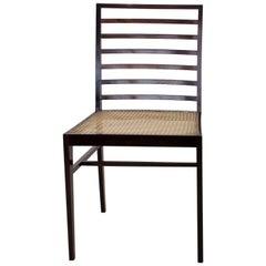 Joaquim Tenreiro Eight Chairs with H-Base Frame Jacaranda Rosewood and Cane Seat