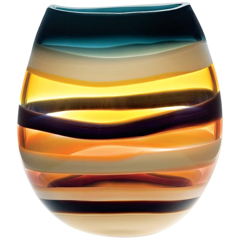 Large Amber Hand Blown Glass U Vase by California Designer Caleb Siemon