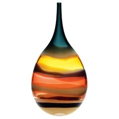 Large Amber Flat Teardrop Vase, Sculpted Glass, Banded Series by Caleb Siemon
