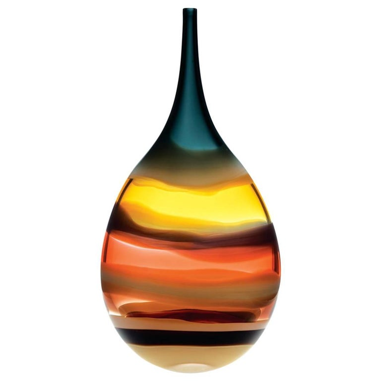 Large Amber Flat Teardrop Vase Sculpted Glass Banded Series By