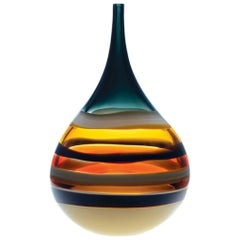 Large Amber Glass Squat Vase, Banded Series by California Designer Caleb Siemon