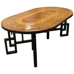 Wooden Mosaic Oval Dining Table