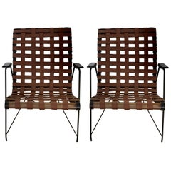 Pair of Iron, Leather and Rosewood Armchairs
