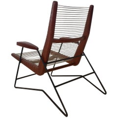 Mid-Century Modern Armchair with Iron Structure and Wood and String Seat