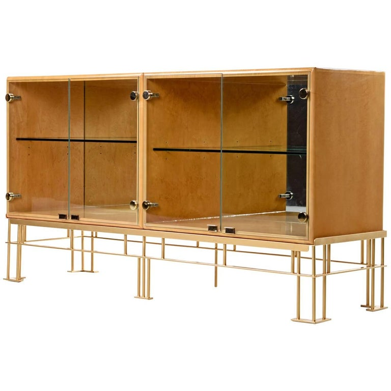Milo Baughman for Thayer Coggin Maple Credenza with Custom-Made Metal Base
