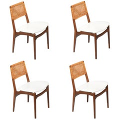 Set of Four Cane and Leather Danish Dining Chairs