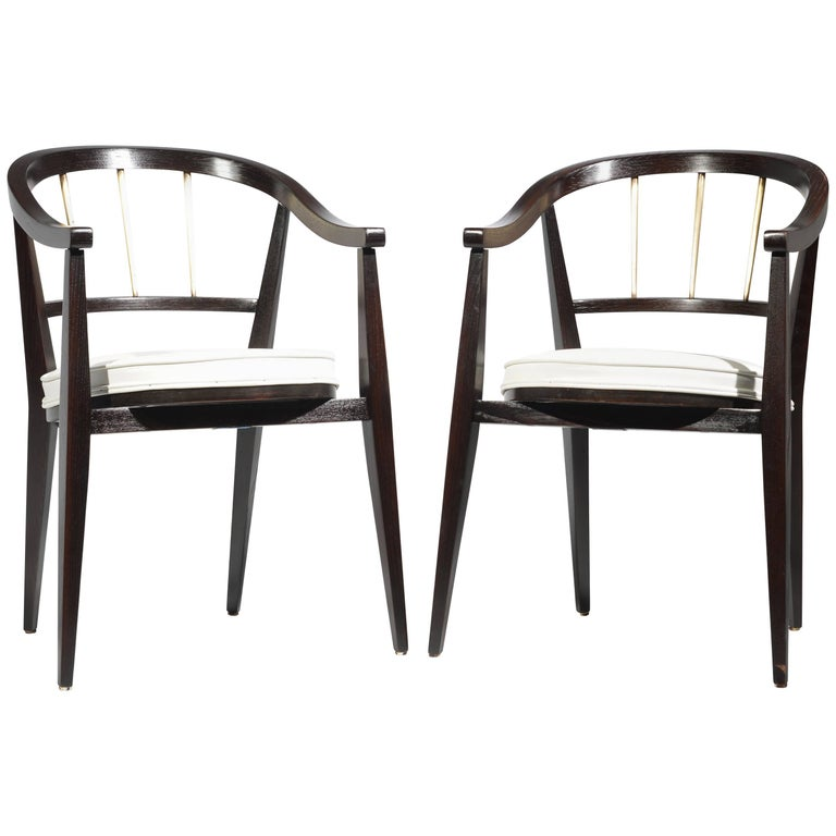 "Pair of Edward Wormley for ""Dunbar"" Leather Armchairs"