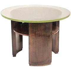 French Art Deco Gueridon Made with a Wood Structure and a Saint Gobain Top Glass