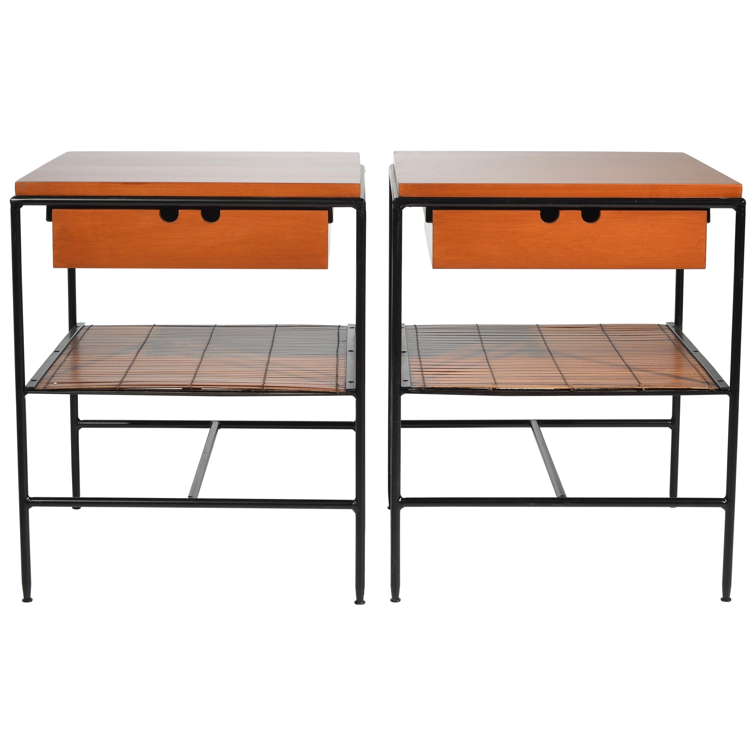 Rare Bamboo and Birch Nightstands by Paul McCobb for Planner Group