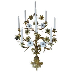 Brass and Opaque Glass Floral French Church Candlestick Candelabra