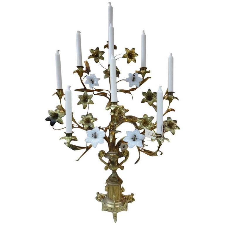Brass and Opaque Glass Floral French Church Candlestick Candelabra  For Sale