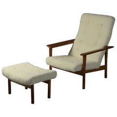 Ejner Larsen & Axel Bender Madsen, Lounge Chair, Ottoman, Lambskin and Oak, 1961