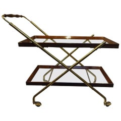 Retro Brass and Wood and Glass Serving Trolley