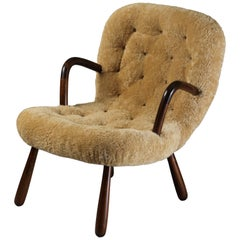Philip Arctander, Clam Armchair Beige Lambskin and Stained Wood, Denmark, 1940s