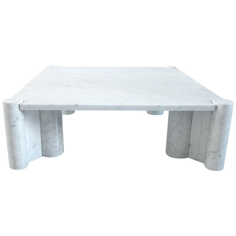 Gae Aulenti Jumbo Table in Carrara Marble, Early Production 1965-1967