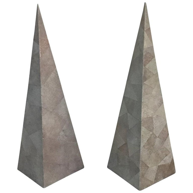 Maitland-Smith Shagreen Pair of Obelisks, 1960s 1