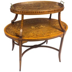 19th Century English Mahogany & Satinwood Etagere Tray Table