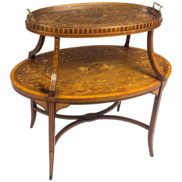 19th Century English Mahogany & Satinwood Etagere Tray Table