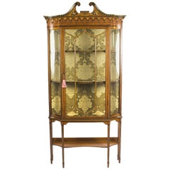Antique Edwardian Sheraton Revival Painted Satinwood Display Cabinet 19th C
