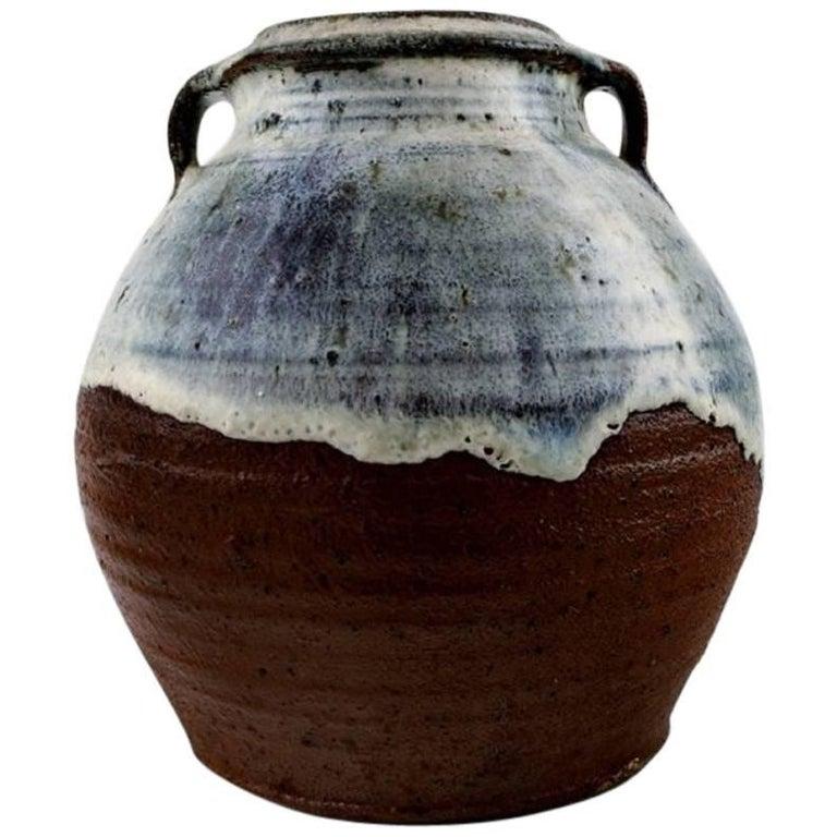 Gutte Eriksen, own workshop, ceramic vase with two handles. Denmark mid 20 c