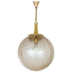 Large MidCentury Doria Glass Globe Brass Chandelier Pendant, Gio Ponti Era