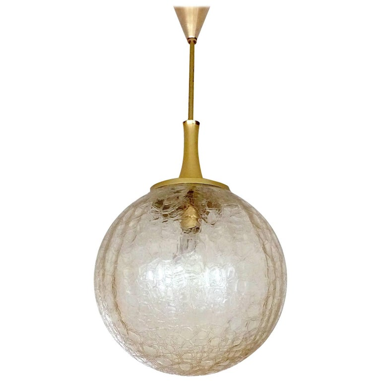 Large Doria Glass Globe Brass Chandelier Pendant Light, Gio Ponti Era