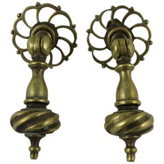 English Brass Hanging Drawer Pulls & Pierced Back Plates, Set of Two
