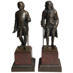 Pair of Bronze Grand Tour Figures of Voltaire and Rousseau, circa 1850