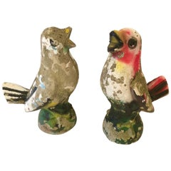 Absolutely Adorable Pair of Vintage Cast Stone Bluebird Garden Sculptures