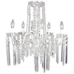 Vintage Italian Cut Crystal & Chrome 5-Light Chandelier, 20th Century