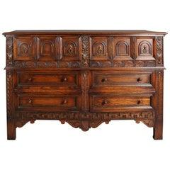 Antique Edwardian Jacobean Style Carved Oak Server by Kittinger, circa 1920