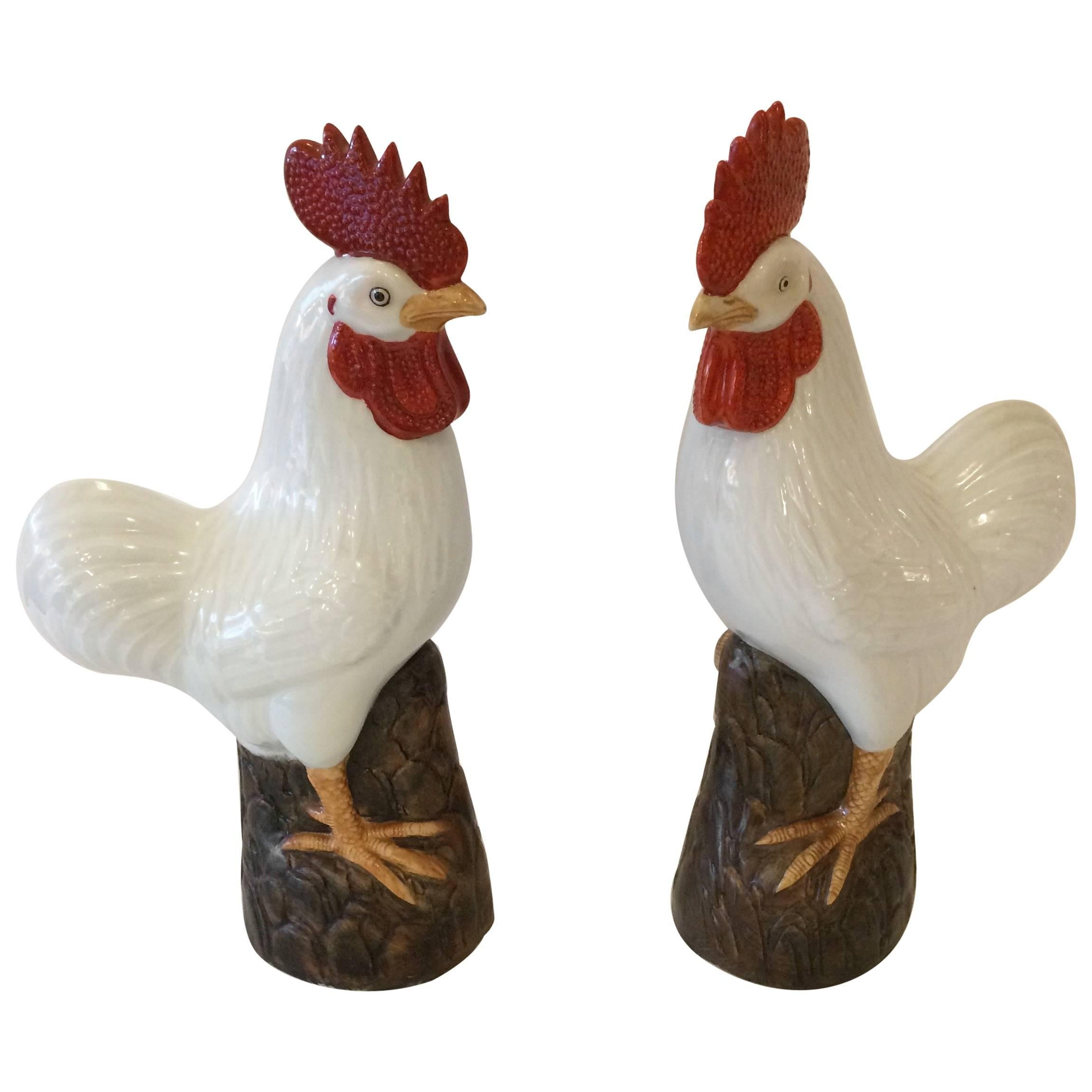 Charming Pair of Chinese Export Porcelain Rooster Sculptures