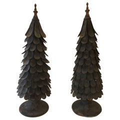 Striking Pair of Hand Forged Iron and Zinc Tree Sculptures