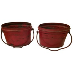 Show Stopping Fire Engine Red Antique Zinc Buckets