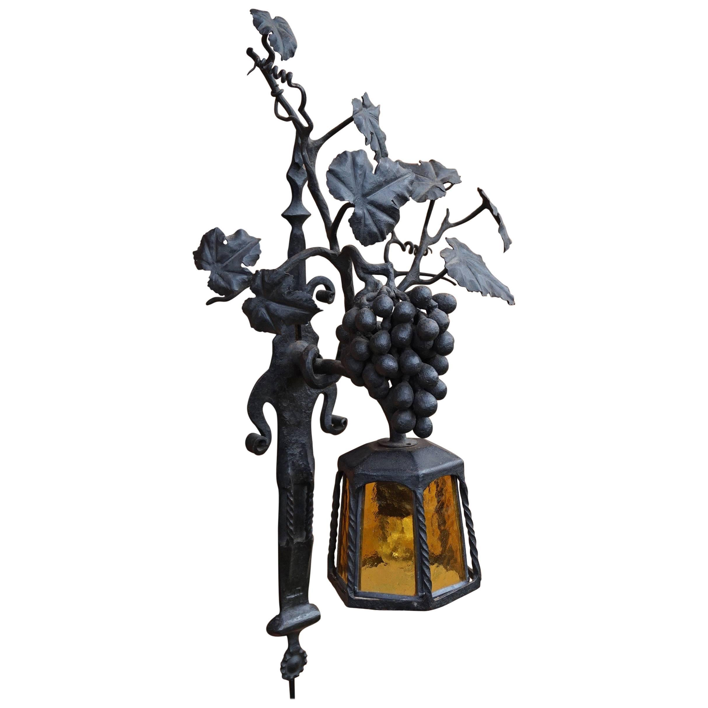 Arts and Crafts Wrought Iron Bunch of Grapes Wall Sconce / Wine Theme Lamp