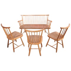 Arno Lambrecht Dining Set of Three Chairs and Bench for WK Mobel