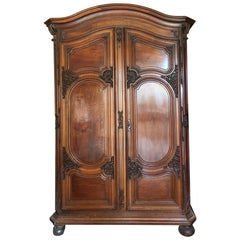 Hand-Carved 17th Century Period Louis XIV Walnut Bordelaise Armoire